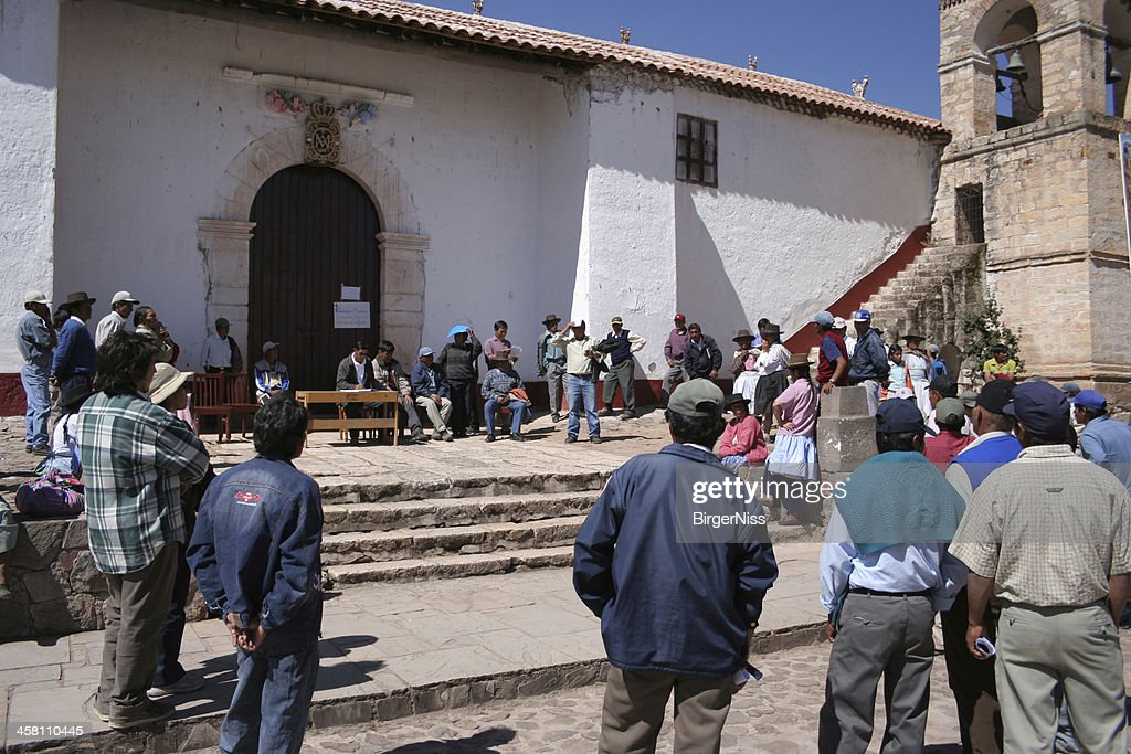 Public meeting in Quinoa, Ayacucho, Peru : Stock Photo