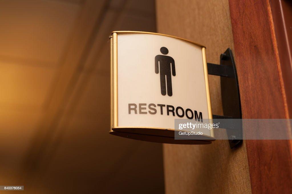 Public men restroom sign close up image : Stock Photo