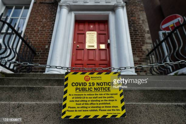 Public Notice at the entrance to a business premisses in Dublin city center seen during an Anti-Lockdown and Anti-Vaccine protes on the World Freedom...