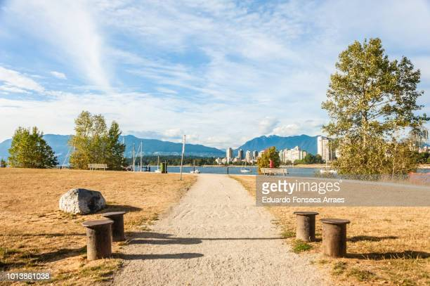 public park and beach - english bay stock photos and pictures