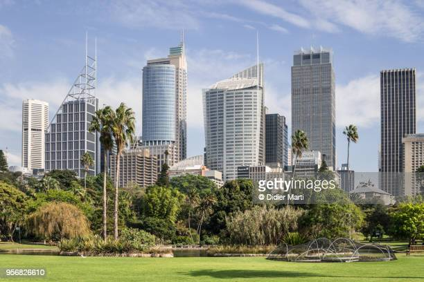 Public park in the heart of Sydney with the financial district skyline in Australia