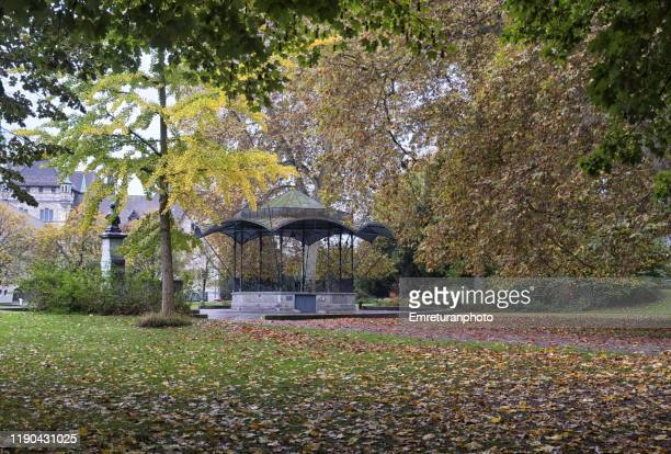public park with music pavillon in zurich. - emreturanphoto stock pictures, royalty-free photos & images