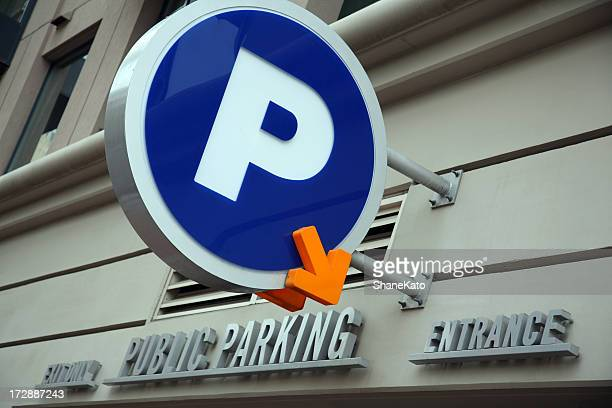 public parking garage sign downtown - parking garage stock pictures, royalty-free photos & images