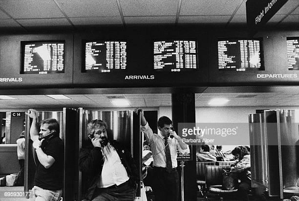 Public phonebooths at LaGuardia Airport New York City December 1988