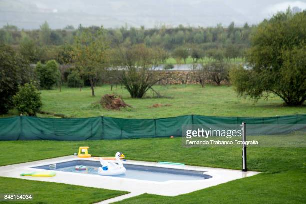 Public pool on a rainy day