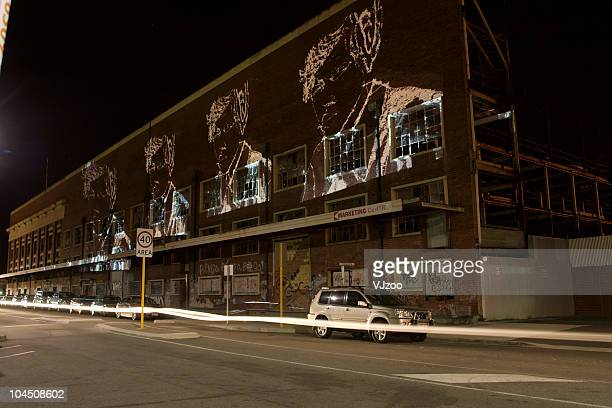 Public Projections by VJzoo on the Fremantle Wool Stores Building for the 'Fremantle on the Edge' Festival