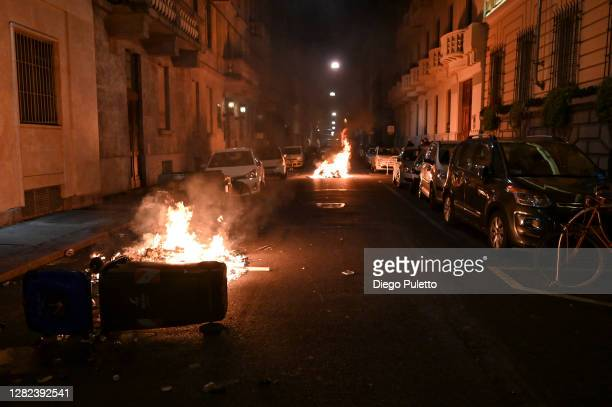 Public property is set on fire as protesters gather during an anti government demonstration on October 26 2020 in Turin Italy Following a surge in...