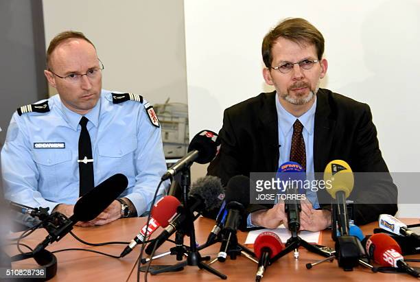 Public prosecutor of Rodez Yves Delperie and head of the Aveyron departmental Gendarmerie forces lieutenantcolonel Frederic Le Meur hold a press...