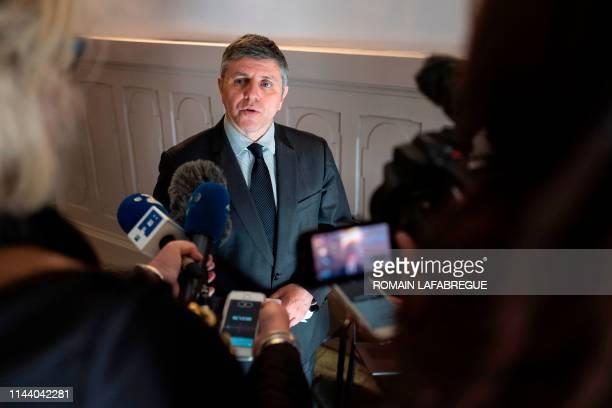 Public prosecutor Patrice Guigon answers journalists in the law court of Bonneville near Sallanches where Jose Antonio Urrutikoetxea Bengoetxea also...