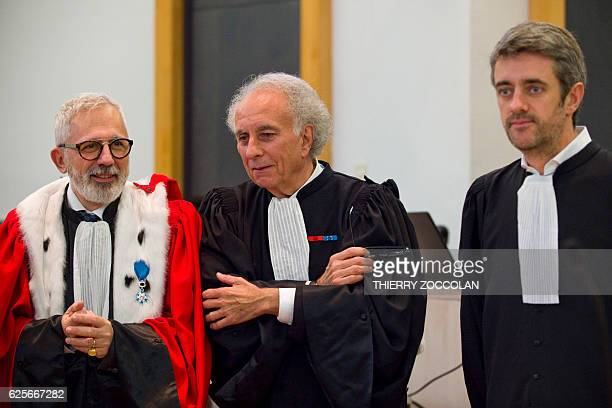 Public prosecutor Raphael Sanesi defendant's French lawyers GillesJean Portejoie and Renaud Portejoie are pictured on the 10th day of the trial of...