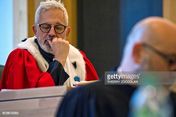 public prosecutor Raphael Sanesi gestures at the Riom courthouse near ClermontFerrand central France on November 17 during the hearing of the trial...