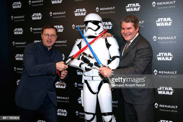 Public Relations Director of the RenaultNissan Alliance Claude Hugot and Franck Louvrier attend the 'Star Wars x Renault' Party at Atelier Renault on...