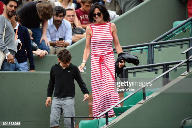 Public relations expert Sandra Zeitoun de Matteis who is the partner of French actor Tomer Sisley during day 7 of the French Open at Roland Garros on...