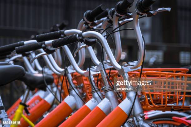 Public Rental Bicycles in a line