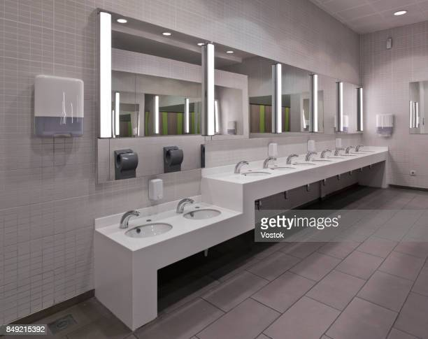 public restroom in a large modern shopping mall and entertainment centre in almaty - public restroom stock pictures, royalty-free photos & images