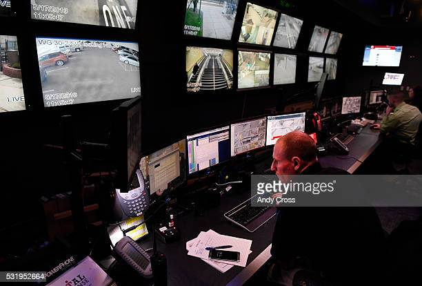 Public safety technician/dispatcher Ryan Schott working at the RTD Transit Security Command Center May 17 2016