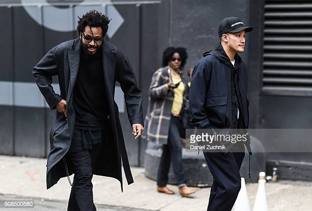 Public School Designers DaoYi Chow and Maxwell Osborne are seen outside the Timo Weiland show during New York Fashion Week Men's Fall/Winter 2016 on...