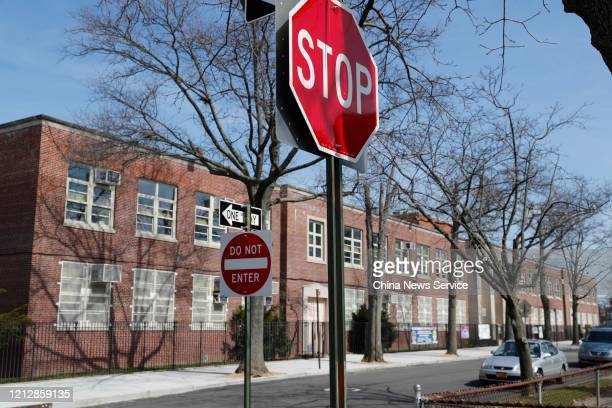 A public school in Queens is seen closed amid the coronavirus breakout on March 16 2020 in New York City