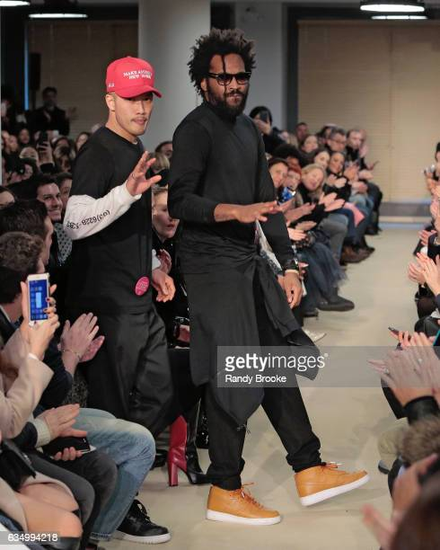 Public School's designers at the conclusion of their show on February 2017 show at New York Fashion WeekThe Shows on February 12 2017 in New York City