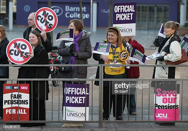 Public sector workers take industrial action on a picket outside Barnet College on November 30 2011 in London England More than 2 million public...