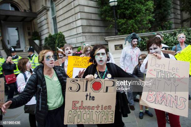 Public sector workers taking industrial action dressed as zombies protest along Regent Street on July 10 2014 in London England Over one million...