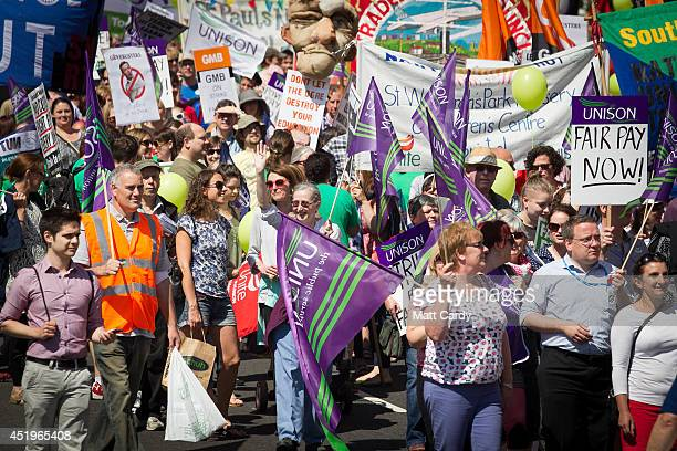 Public sector workers taking industrial action protest in the centre of Bristol on July 10 2014 in Bristol England Over one million public sector...