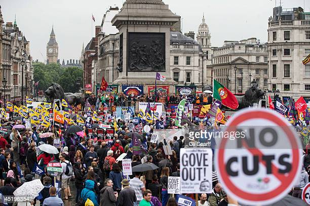 Public sector workers taking industrial action protest in Trafalgar Square on July 10 2014 in London England Over one million public sector workers...
