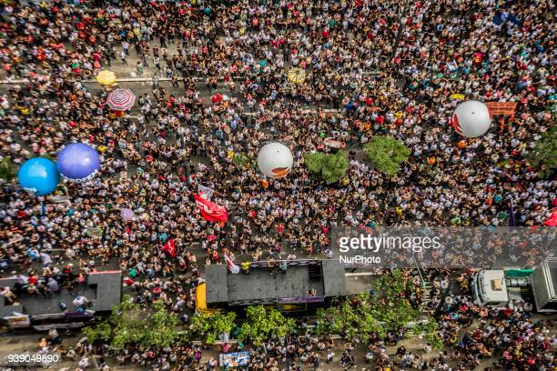Public servants gather in front of São Paulo City Hall on March 27 2018 in the city center of São Paulo to demand the withdrawal of the Law Project...