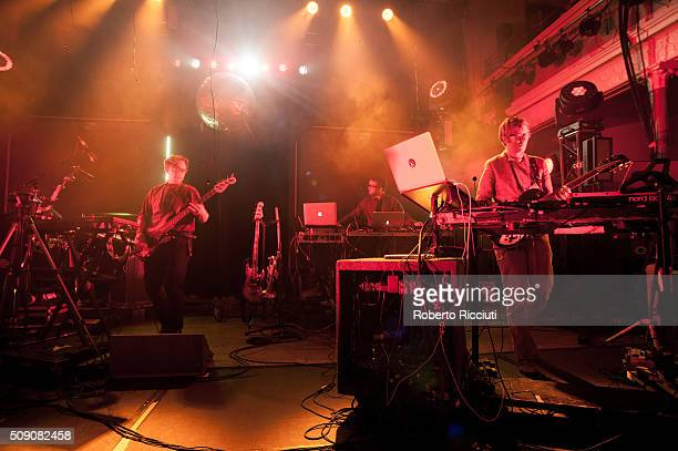 Public Service Broadcasting perform on stage at Queen's Hall on February 8 2016 in Edinburgh Scotland