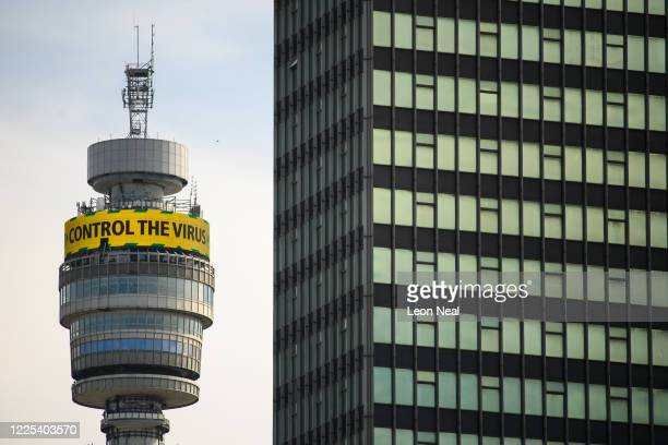 Public service message, asking the public to stay alert to the dangers of the COVID-19 coronavirus, is seen on the B.T. Tower on May 17, 2020 in...