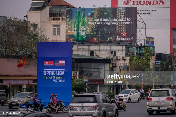 A public signboard welcomes the upcoming summit between US President Donald Trump and North Korean Leader Kim Jong Un near the US Embassy on February...