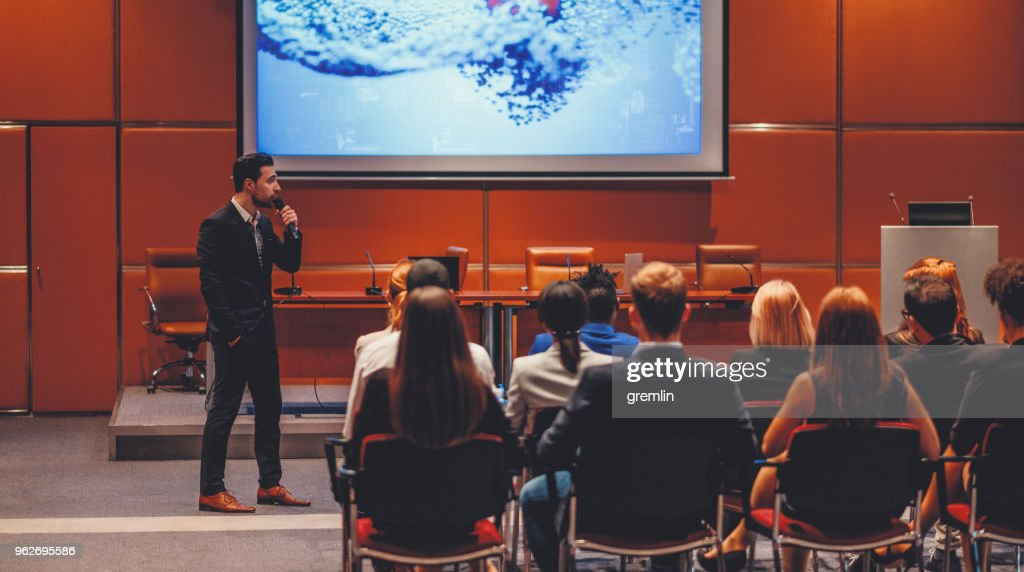 Public speaker at science convention : Stock Photo