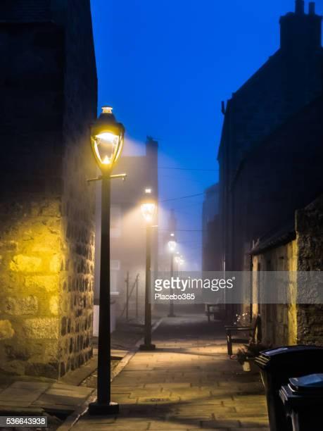 Public Street Lights in Fog, Footdee, Aberdeen