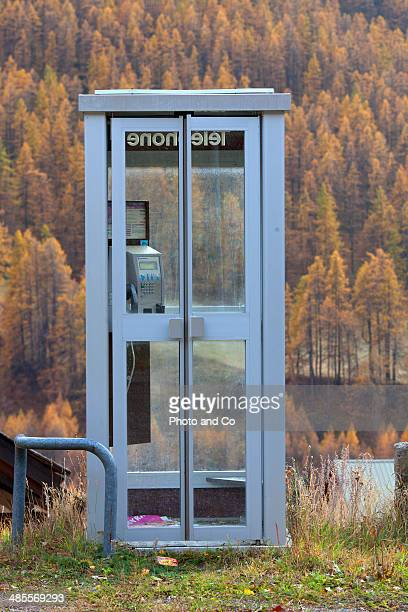 public telephone booth in the mountain
