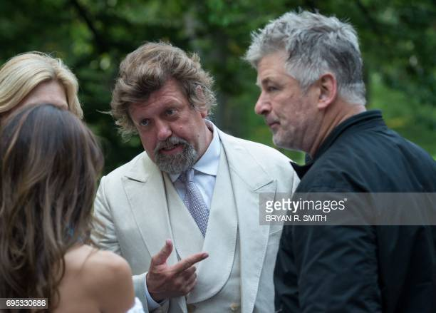 Public Theater Artistic Director Oskar Eustis and actor Alec Baldwin speak on the opening night of Shakespeare in the Park's production of Julius...