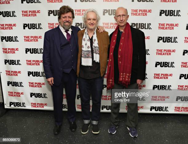 Public Theater Artistic Director Oskar Eustis Director Sean Mathias and Playwright Martin Sherman attend the Gently Down the Stream opening night at...