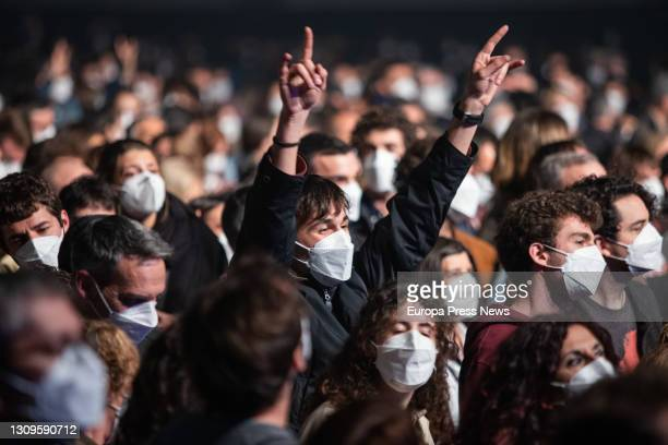 Public to the spanish indie rock and indie pop band Love of Lesbian during their concert at the Palau de Sant Jordi on March 27, 2021 in Barcelona,...