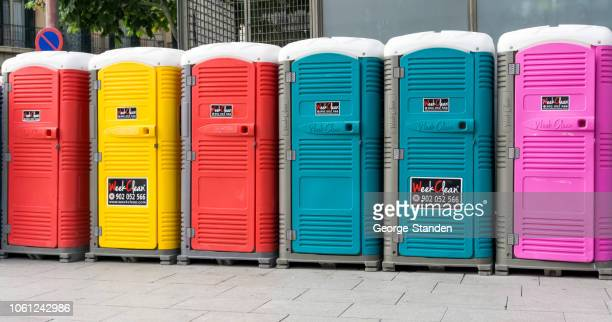 public toilet barcelona - portable toilet stock photos and pictures