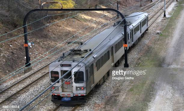 Public transit, electric train cars, Cleveland, Ohio, USA