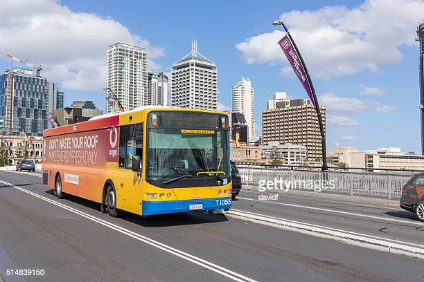 Public Transport Bus Crossing a Bridge in Brisbane, Australia