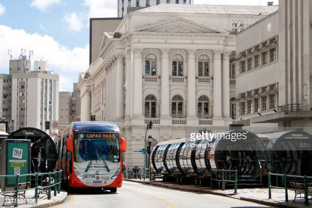 public transportation in the city of curitiba - curitiba stock pictures, royalty-free photos & images