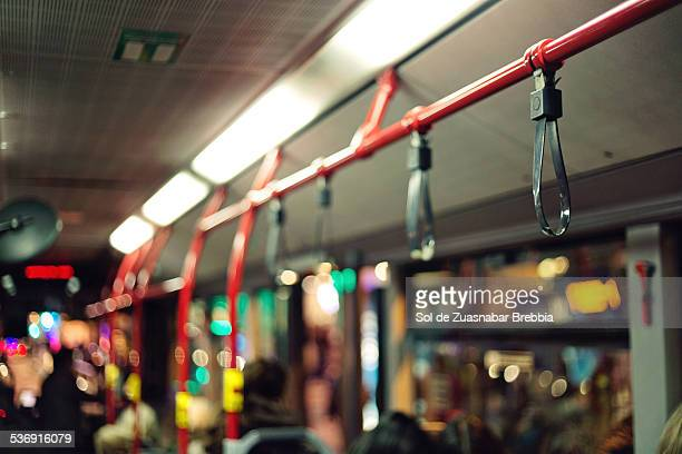 Public transportation. Interior of a bus or train