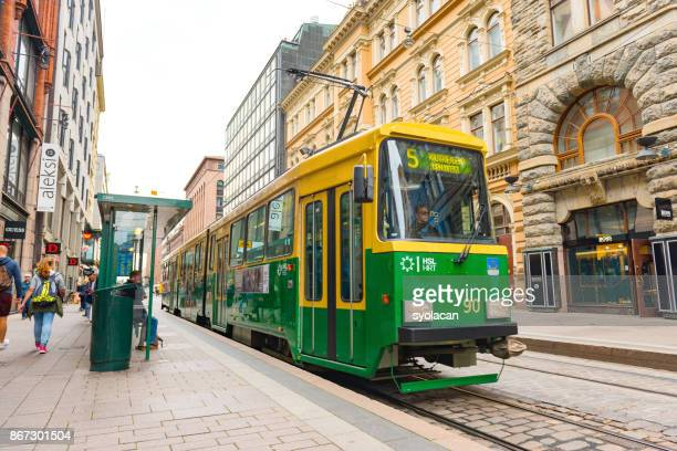 public transportation tramway in helsinki - syolacan stock pictures, royalty-free photos & images
