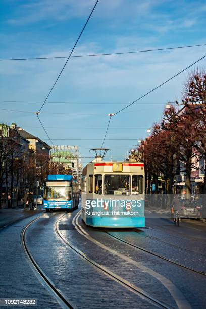 public transportations in gothenburg, sweden. - västra götaland county stock pictures, royalty-free photos & images