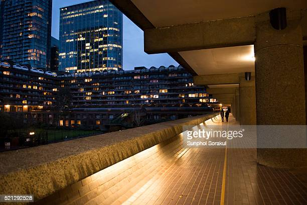 Public walkway through Andrewes house with Willoughby House and Citypoint tower in the background