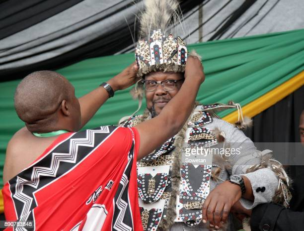 Public Works Minister Nkosinathi Nhleko is dressed in traditional attire during Nkosazana DlaminiZumas prayer party organized by the Dlamini Clan in...