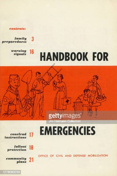 """Publication titled """"Handbook for Emergencies"""" by the Office of Civil and Defense Mobilization shows an illustration of people engaged in various acts..."""