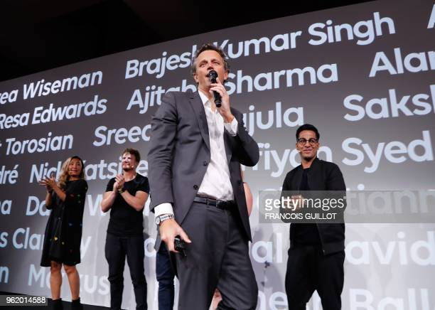 Publicis Group chairman Arthur Sadoun speaks during the presentation of the digital personal assistant named 'Marcel' aimed at helping the group's...
