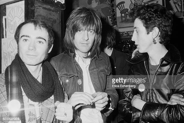 Publicist BP Fallon with musician and producer Nick Lowe and Andy Blade of Eater Hope and Anchor London November 1976