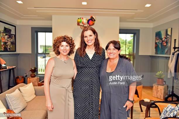 Publicist Jessie Cohen, Geena Davis and publiciist Nicole Kerr attend the 2021 Bentonville Film Festival opening night red carpet and filmmaker...
